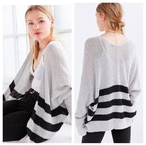 UO BDG Ivy Open Cardigan EUC grey w/ black stripes